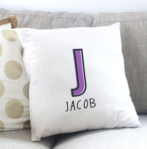 Personalised Offset Initial Name Cushion - gifts for children