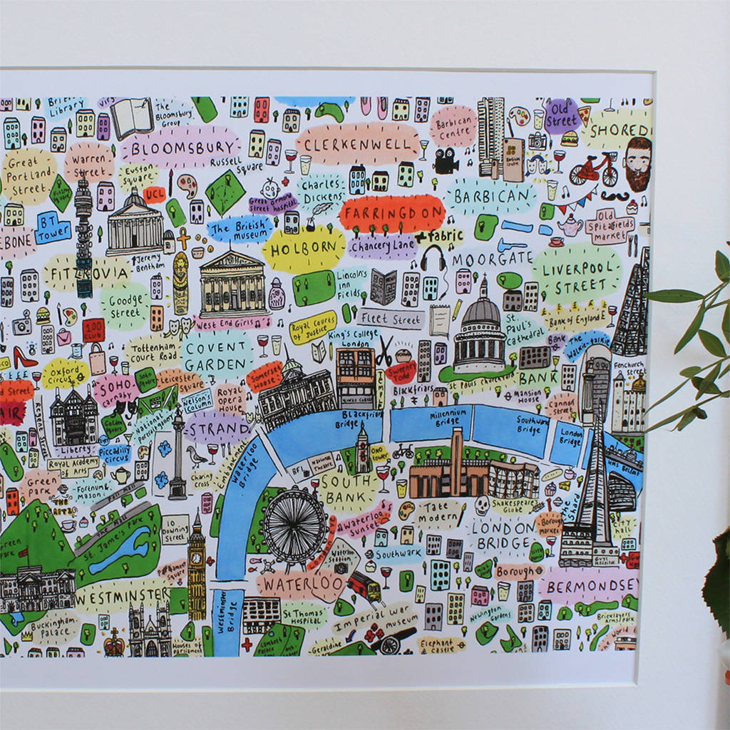 Map To London.Central London Illustrated Map Print
