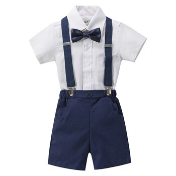 Boy's 4pc Wedding Linen Blend Brace Set Outfit