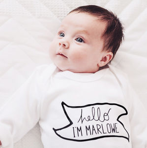 Personalised New Baby 'Hello I'm' Babygrow