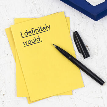 'I Definitely Would' Rude Valentines Card