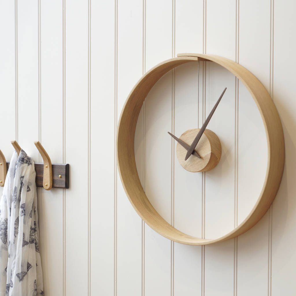 Wooden wall clock steam bent wooden clock home accessories amipublicfo Gallery
