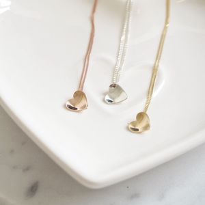 Handmade Solid Gold Mini Concave Heart Necklace - necklaces & pendants