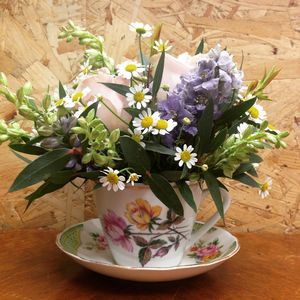 Vintage Tea Cup Flower Workshop With Prosecco - gifts for her
