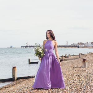 Racer Halterneck Long Bridesmaid Dress In 35 Colours