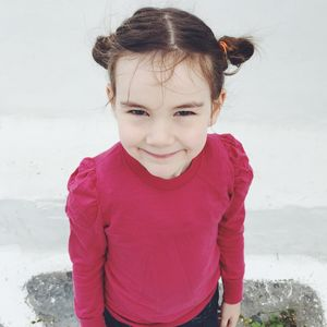Merino Wool Girls Jumper With Puff Sleeves