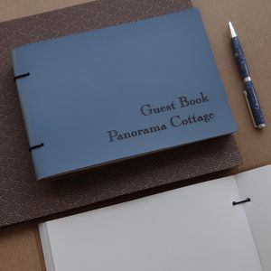 Engraved Leather Visitors Book - personalised