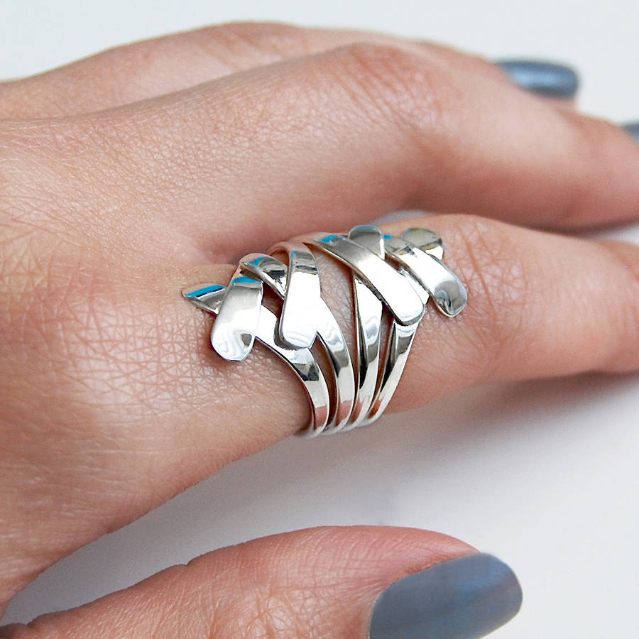 Contemporary Silvers: Chunky Sterling Silver Contemporary Layered Ring By Otis