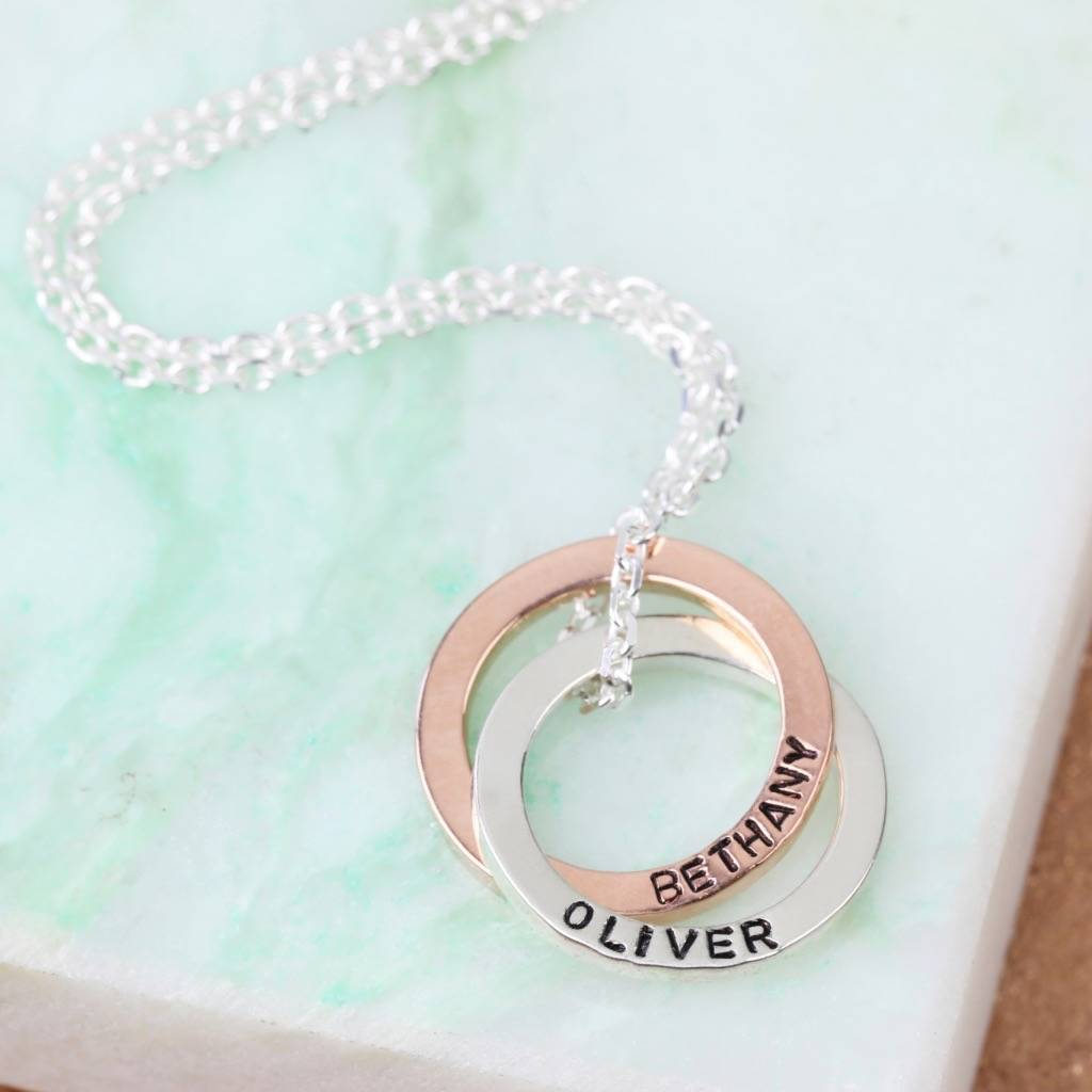 Personalised 9k Rose Gold And Silver Circles Necklace