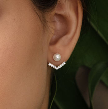 Anchor Crystal And Pearl Ear Jacket