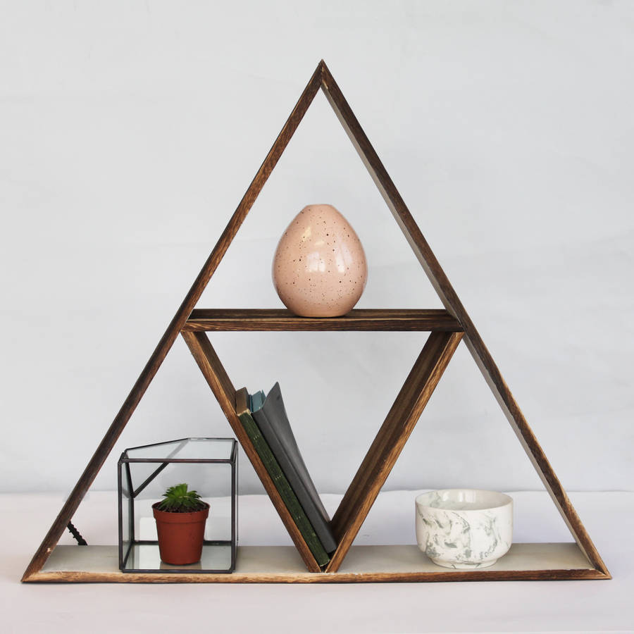 Wooden geometric triangle shelf by posh totty designs interiors - Triangular bookshelf ...