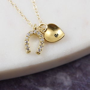Personalised Gold Pave Horseshoe Love Heart Necklace