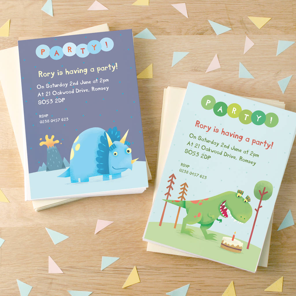 Personalised Dinosaur Party Invitations
