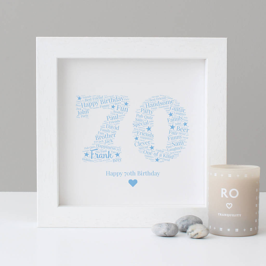 Personalised 70th Birthday Gift Print
