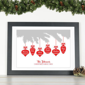 'Baubles' Personalised Family Christmas Print