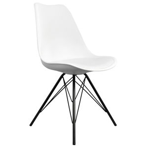 White Copenhagen Chair With Black Metal Legs
