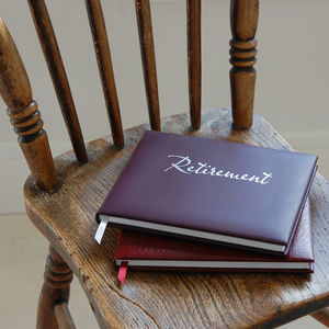 Leather Retirement Guest Book - gifts for grandparents