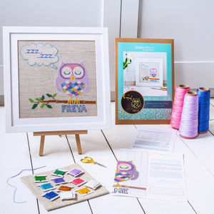 Glow In The Dark Orla Owl Cross Stitch Kit - sewing & knitting