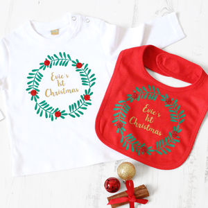 First Christmas Sparkly Wreath Top And Bib Set