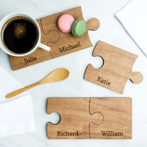 Personalised Wood Jigsaw Coaster Set Straight