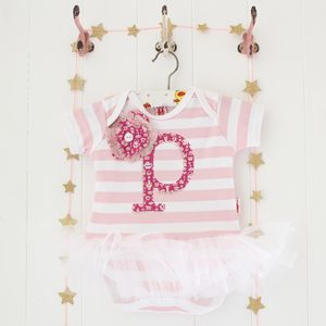 Personalised Letter Baby Stripe Tutu Bodysuit - babygrows