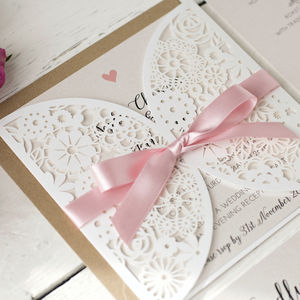 Pearlescent Laser Cut Wedding Invitation - spring styling