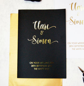 Black White Gold Script Large Personalised Wedding Card - wedding cards