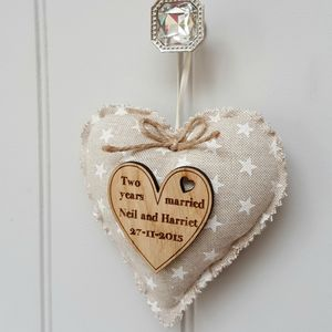 Cotton Anniversary Heart With Oak Wood Heart Message - shop by category