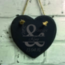 Personalised Mr And Mrs Slate Heart Wedding Decoration