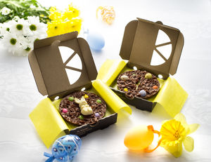 Two Mini Easter Egg And Easter Bunny Chocolate Pizzas