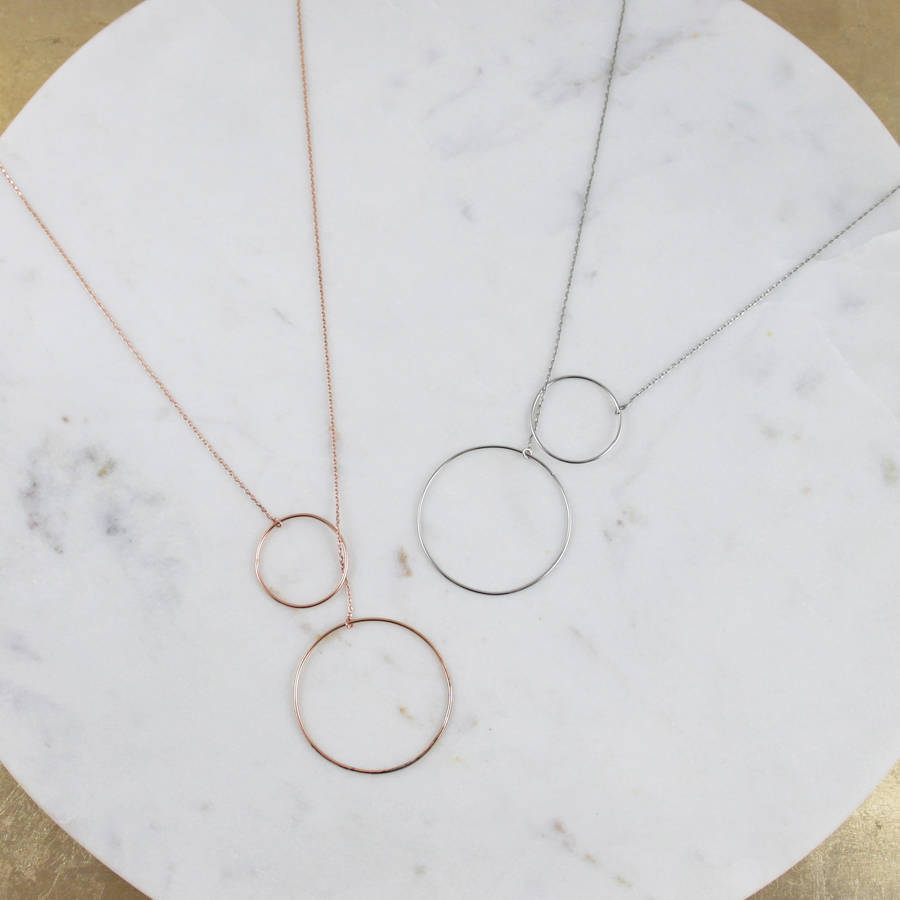 Double circle pendant necklace by my posh shop notonthehighstreet double circle pendant necklace aloadofball Images