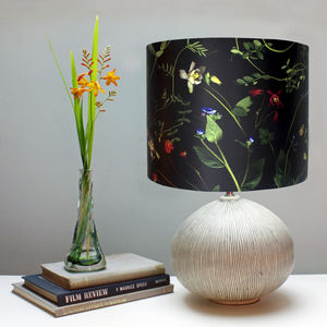 Dark Floral Botanical Print Lampshade - office & study