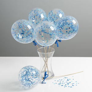 Set Of Six Shades Of Blue Mini Balloon Wands