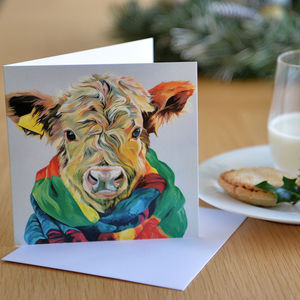 Highland Calf In A Scarf - cards & wrap