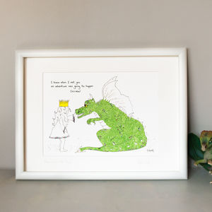 Personalised 'Dragon And Princess' Children's Art Print