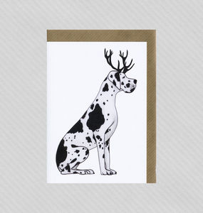 Illustrated Great Dane Deer Blank Card