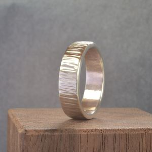 Handmade Silver Rippled Wedding Ring - rings