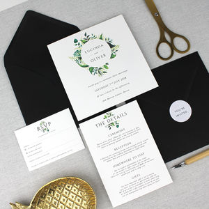 'The Lucinda' Botanical Wreath Wedding Invitation