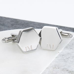 Initial Hexagon Personalised Cufflinks - new lines added