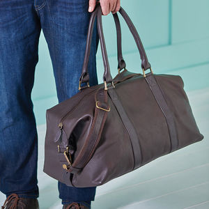 Personalised Leather Weekend Holdall - gifts for him