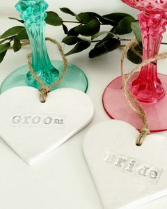 Personalised Clay Heart Decoration - winter sale