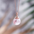 Rose Gold Pearl Necklace - Blush Pink Swarovski Pearl