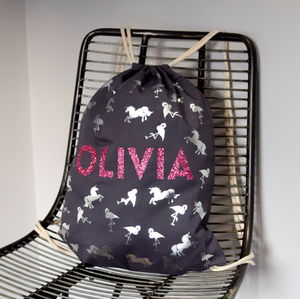 Personalised Unicorn And Flamingo Backpack - bags