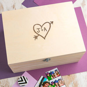 Personalised Wooden Memory Box For Couples - storage & organisers