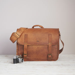Handmade Personalised Leather Camera Bag - mens