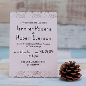 Lace Doilies Laser Cut Wedding Invitation - invitations