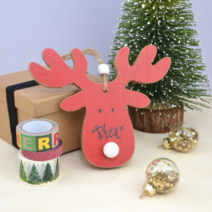Personalised Reindeer Hanging Decoration With LED Nose - personalised