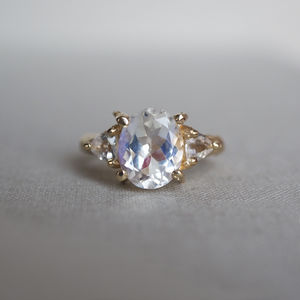 Solid Gold One In A Trillion Moonstone And Topaz - rings
