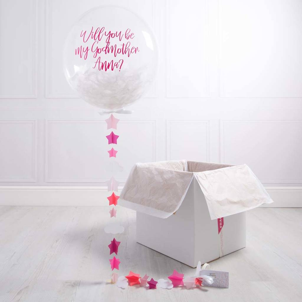 Personalised Godmother Feather Bubble Balloon