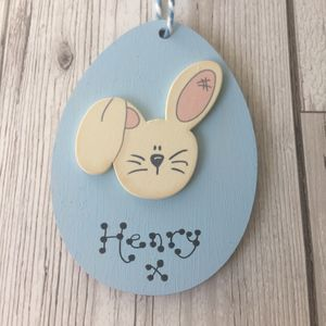 Personalised Bunny Easter Egg Decoration - easter decorations